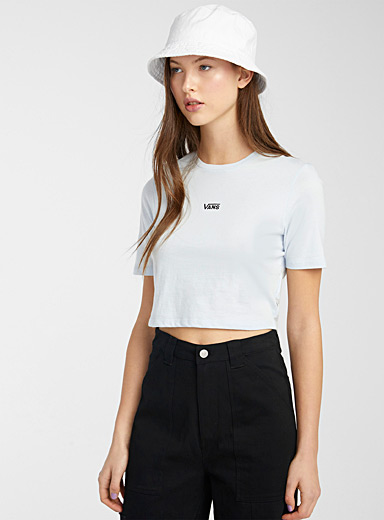 Embroidered mini-logo ultra cropped tee
