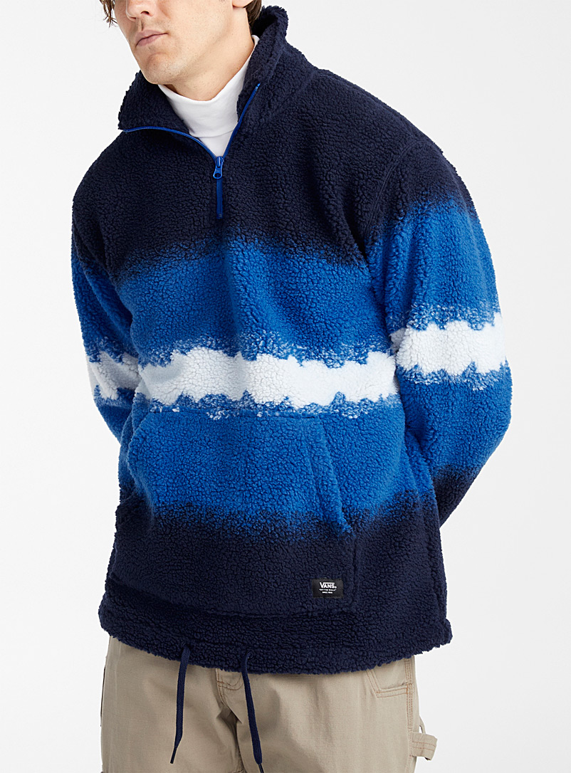 Vans Blue Dip-dye sherpa half-zip for men