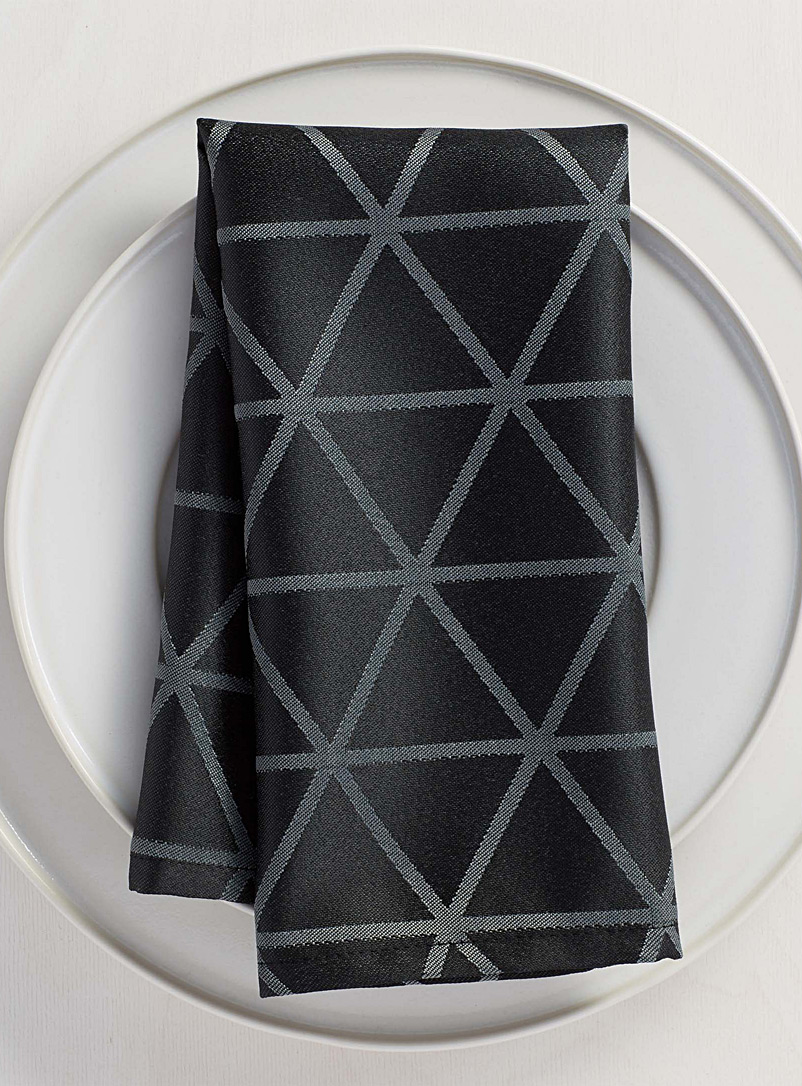 Simons Maison Patterned Black Optical diamond napkin