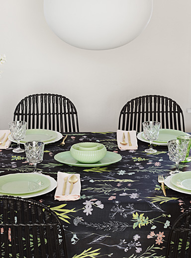 Botanical blackboard tablecloth
