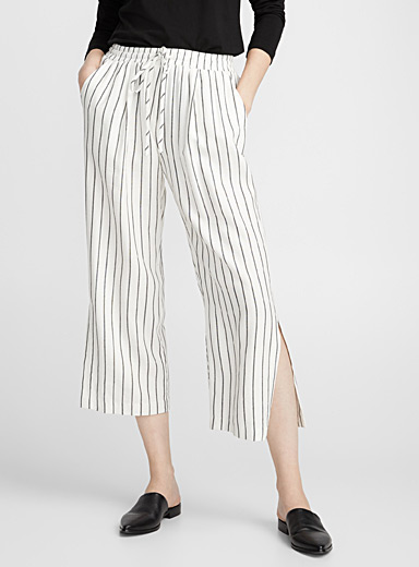 Silk striped culottes