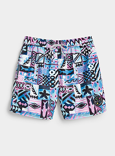 Maui and Sons Patterned Blue Pastel Memphis print short for women