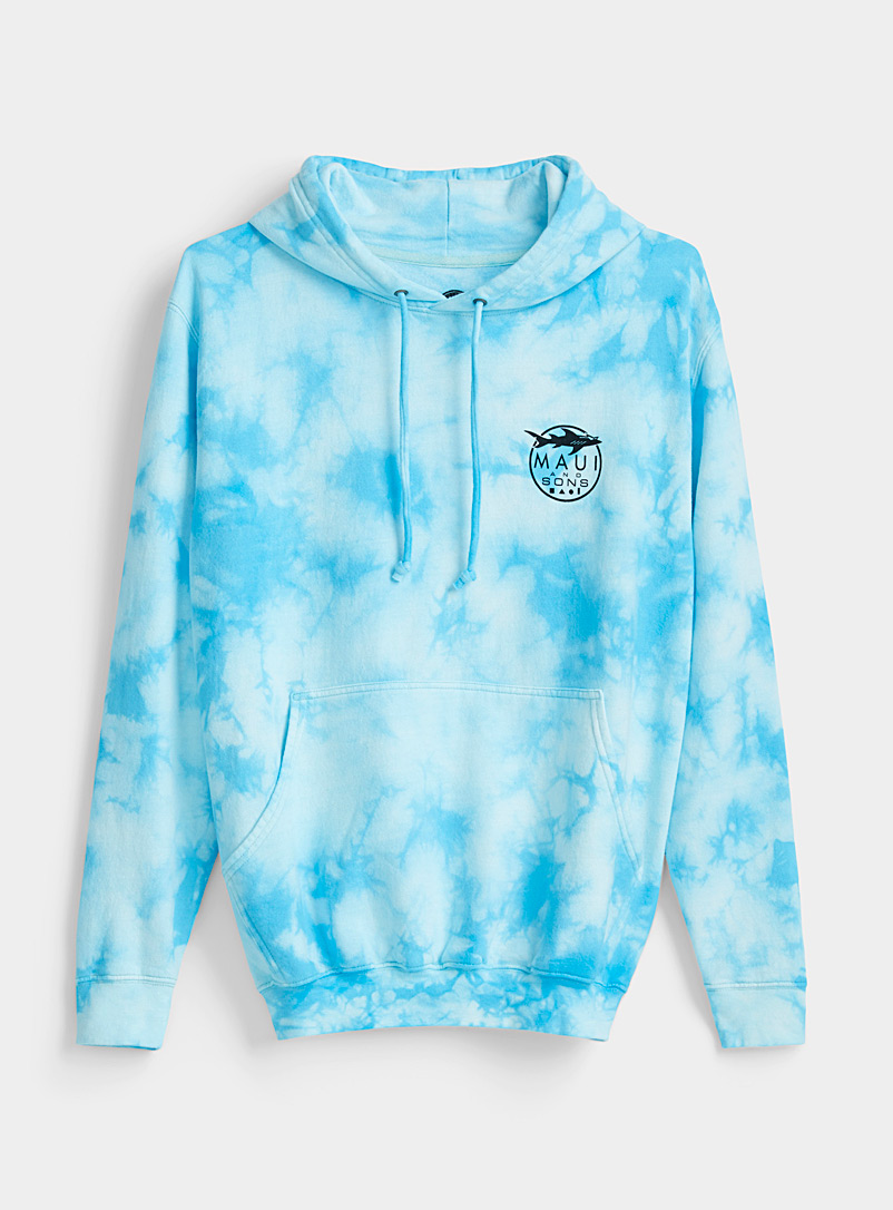 Maui and Sons Patterned Blue Aqua tie-dye hoodie for women