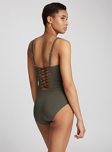 Laced back one-piece