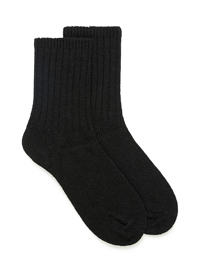 Ribbed lambswool socks