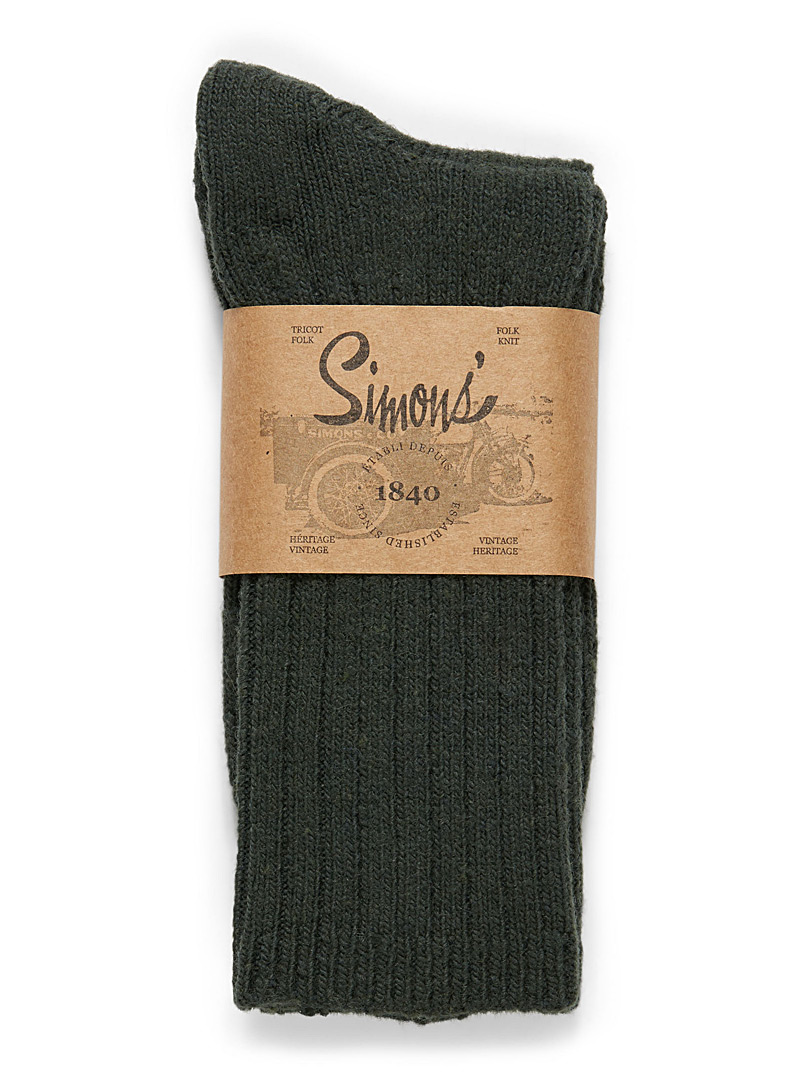 Le 31 Charcoal Ribbed lambswool socks for men