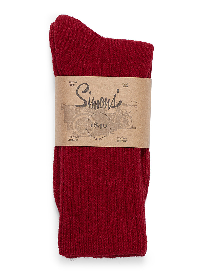 Le 31 Cherry Red Ribbed lambswool socks for men
