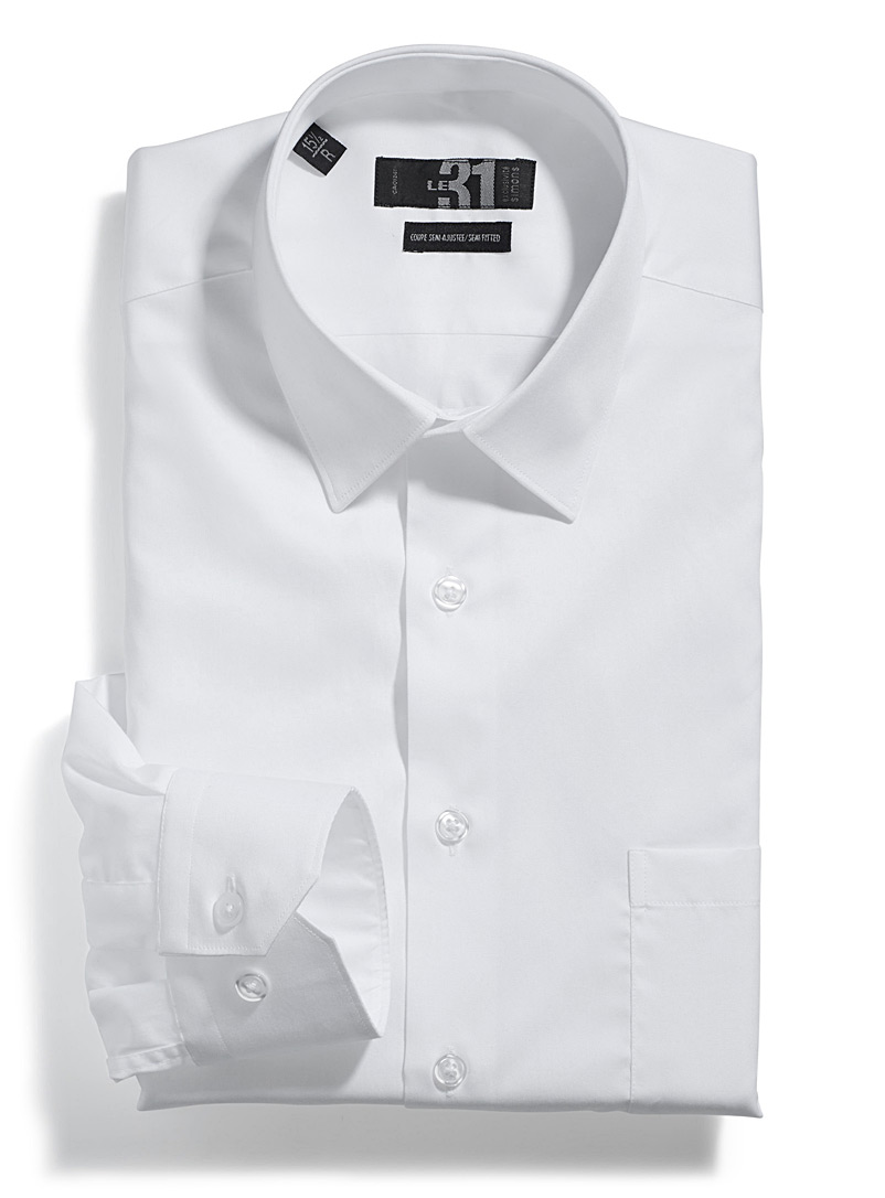 Solid executive shirt  Semi-tailored fit - Semi-tailored fit - White
