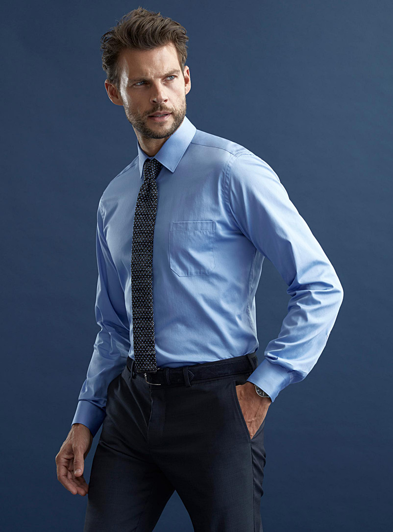 Solid executive shirt  Semi-tailored fit - Semi-tailored fit - Slate Blue