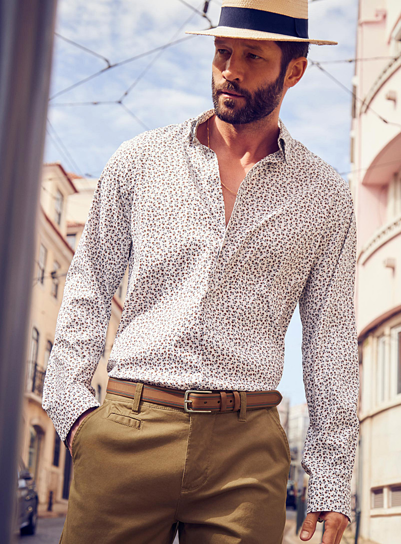 Mosaic microfibre shirt  Semi-tailored fit - Modern fit - Sand