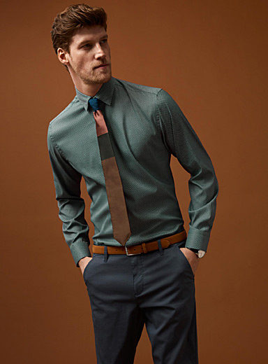 Mosaic microfibre shirt  Semi-tailored fit
