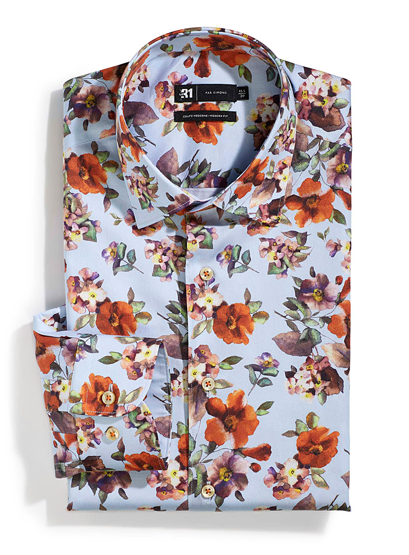 Floral painterly shirt  Modern fit - Modern Fit - Patterned Blue