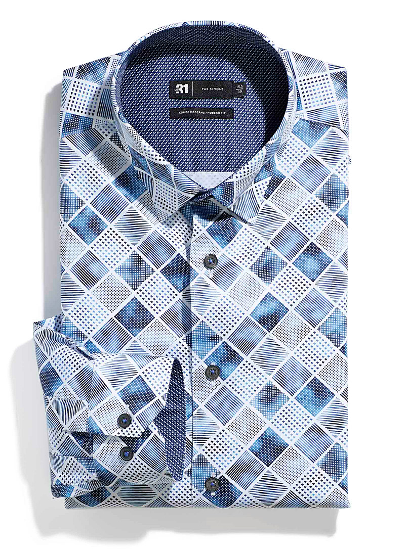 Le 31 Patterned White Geo check shirt  Modern fit for men