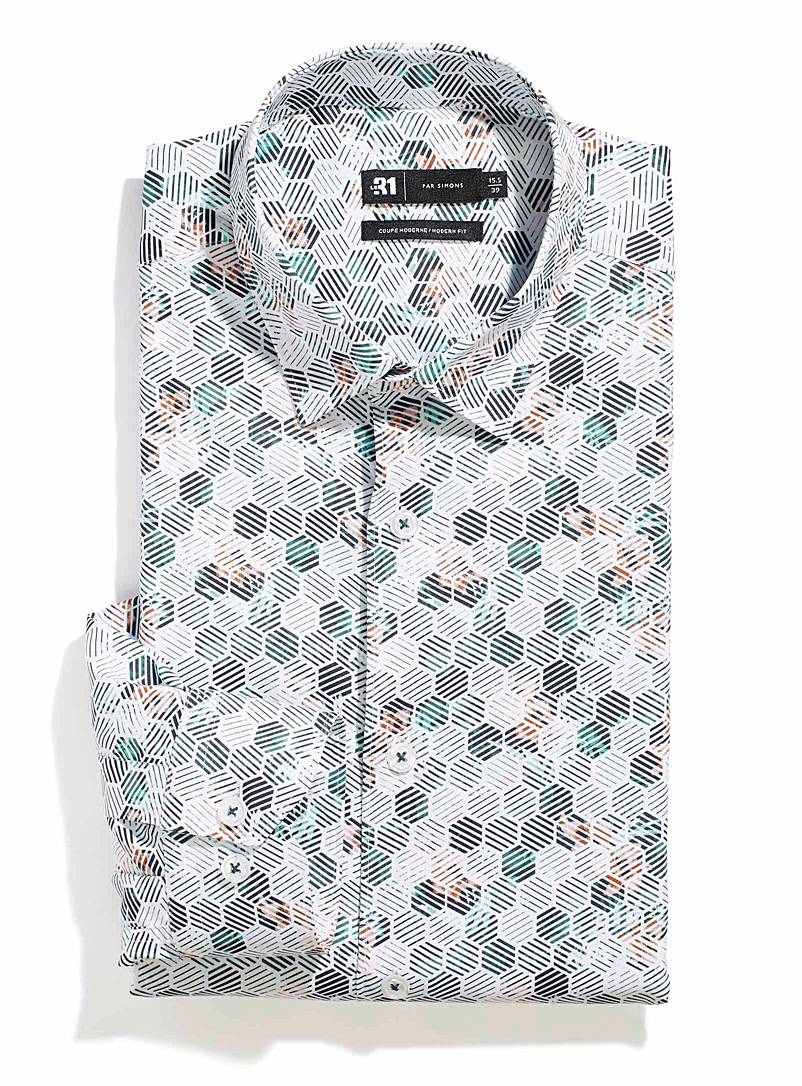 Le 31 Green Fluid mini-pattern shirt  Modern fit for men