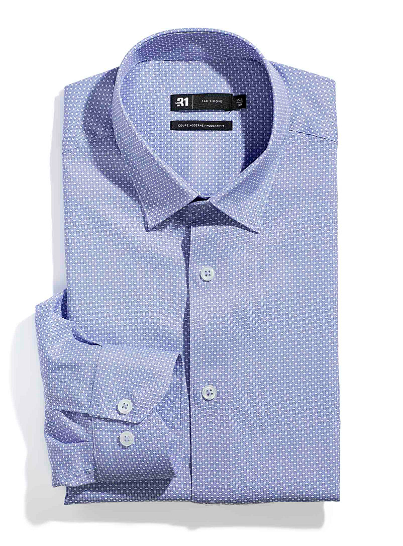 Le 31 Patterned Blue Fluid mini-pattern shirt  Modern fit for men