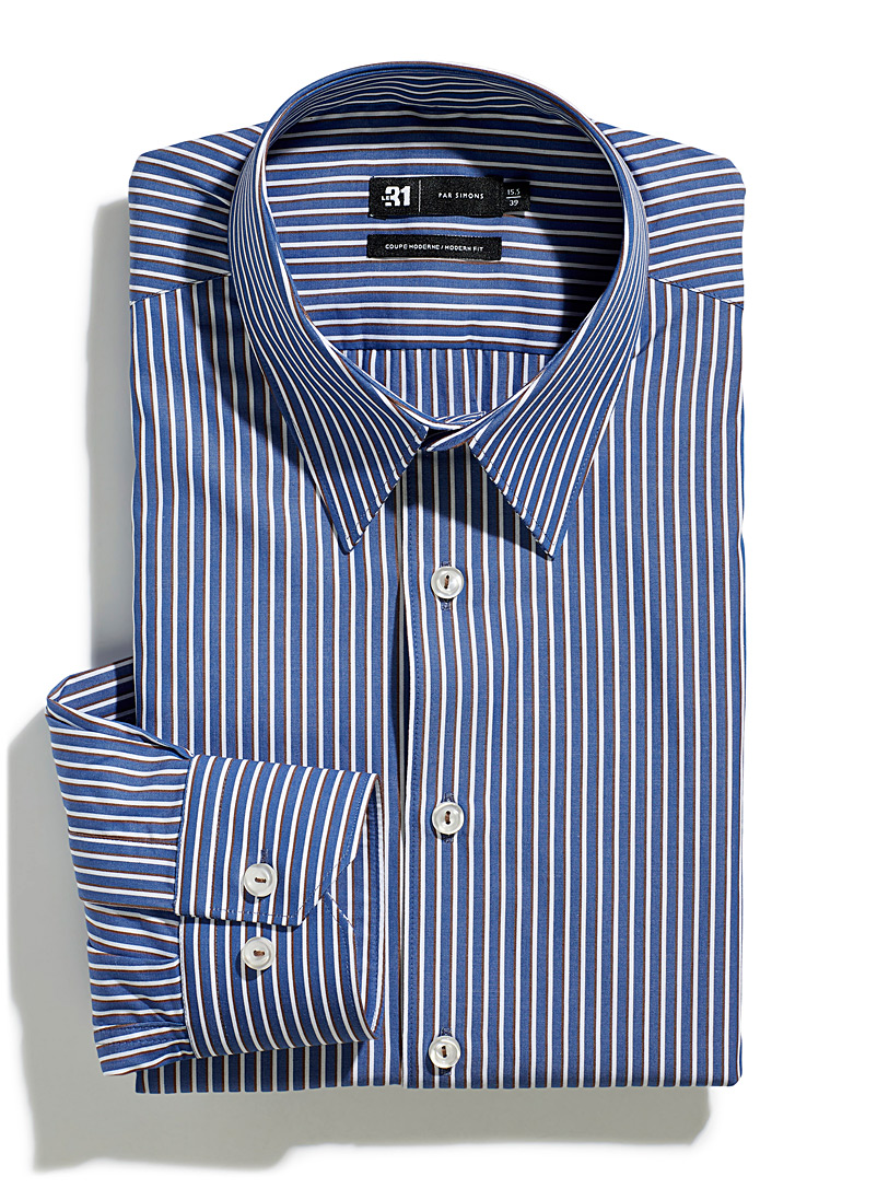 Le 31 Patterned Blue Accent stripe shirt  Modern fit for men