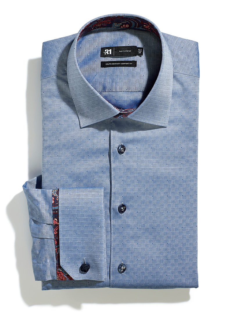 Le 31 Marine Blue Optical jacquard shirt  Comfort fit for men
