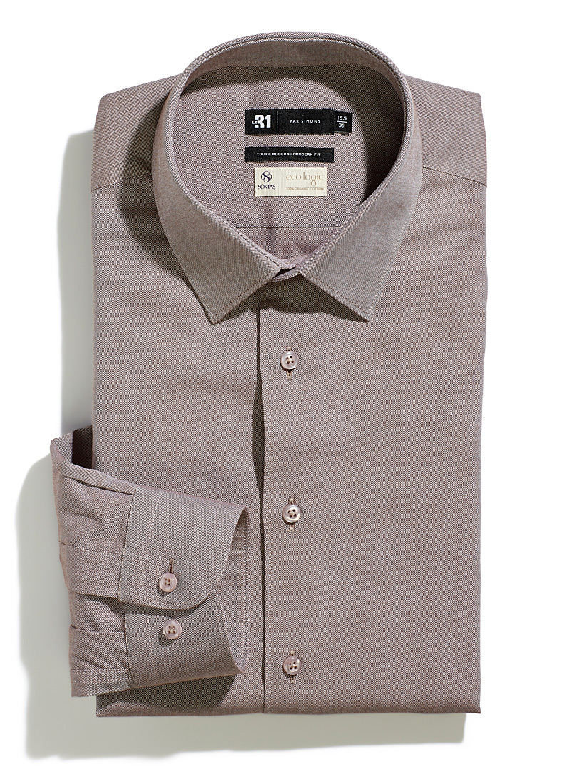 Le 31 Brown Eco logic piqué shirt  Modern fit for men