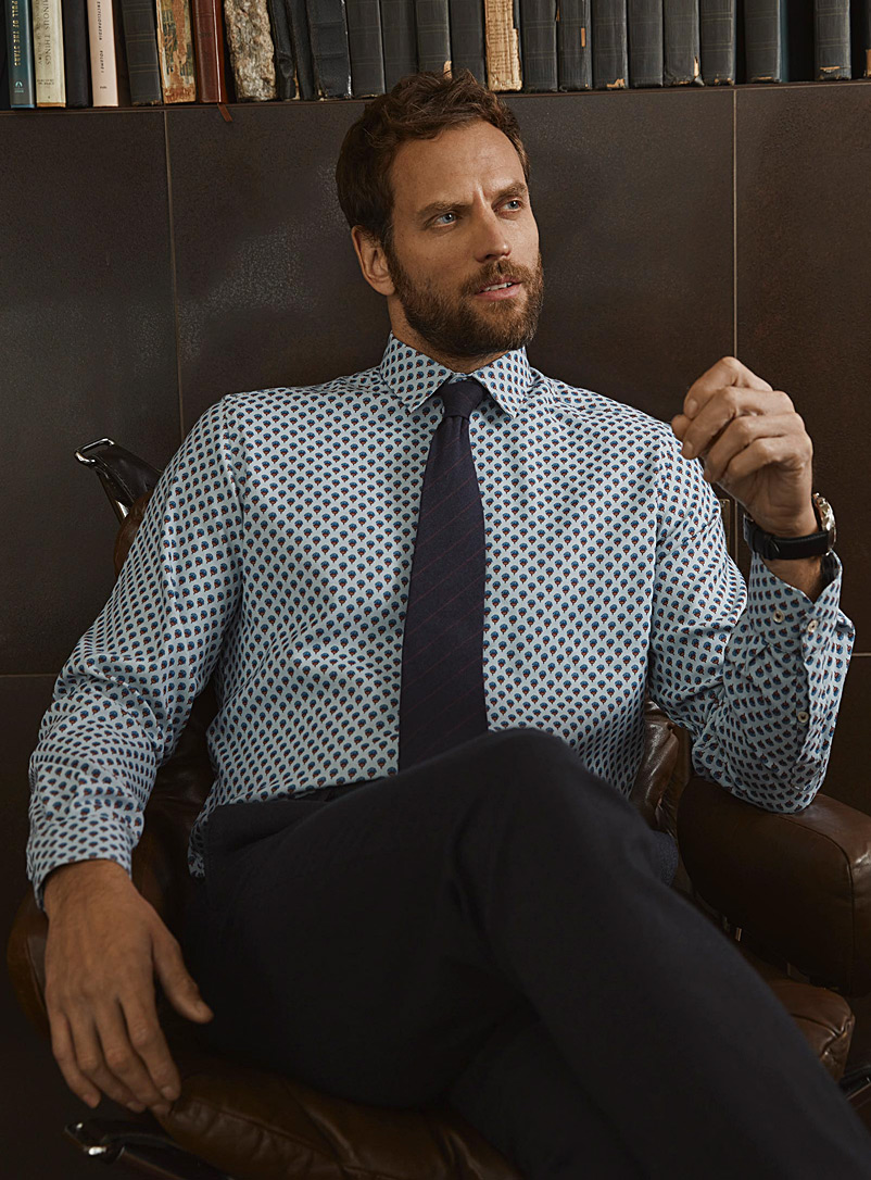 Le 31 Baby Blue Stretch knit-like shirt  Modern fit for men