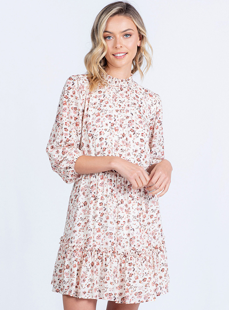Twik Ivory White Swiss Dot floral dress for women