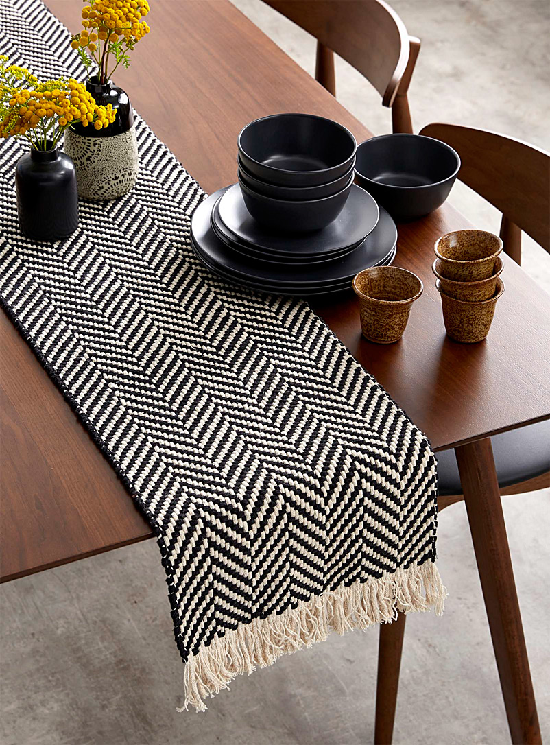 Danica Black and White Zigzag table runner 3 sizes available