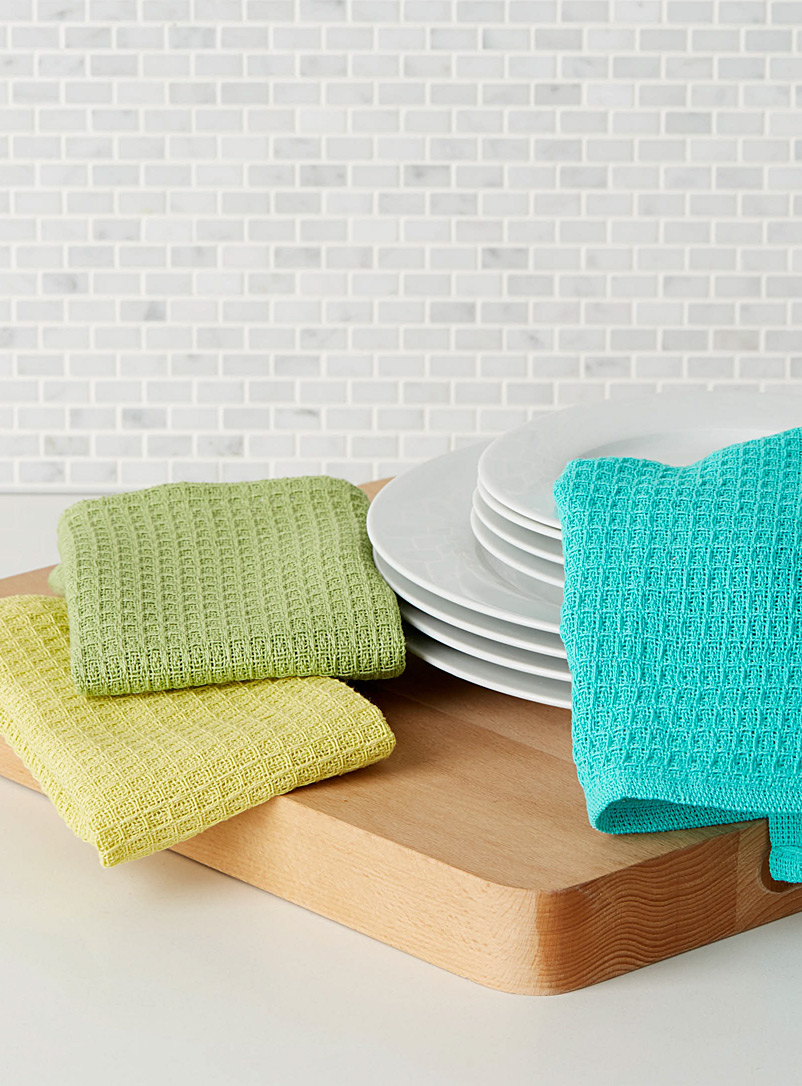 Danica Assorted Bright waffled dishcloths  Set of 3