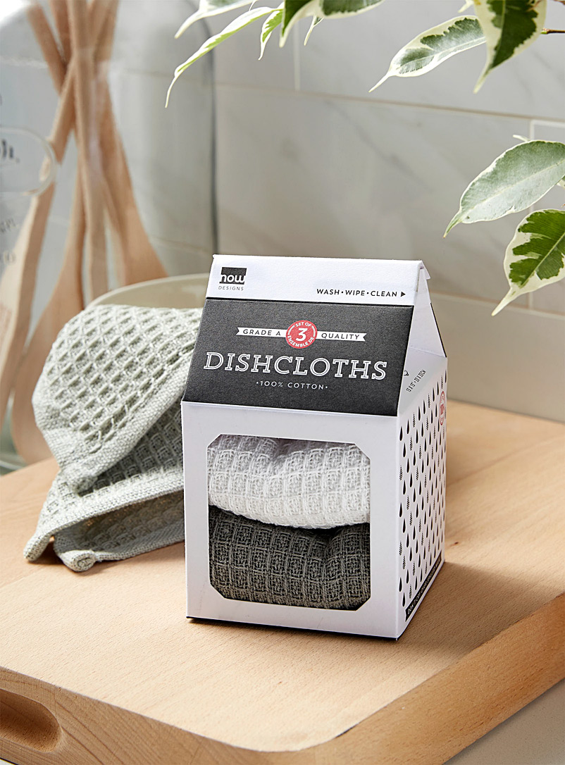 Waffled dishcloths  Set of 3 - Kitchen Linens - Assorted