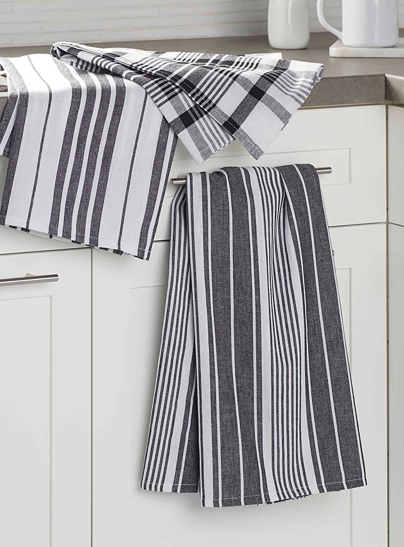 Oversized graphic contrast tea towels  Set of 3