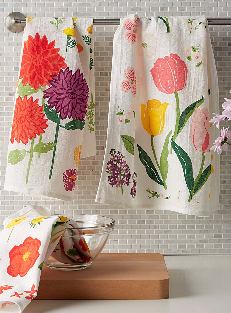 Flowers of the month floursack tea towels  Set of 3 - Kitchen Linens - Assorted