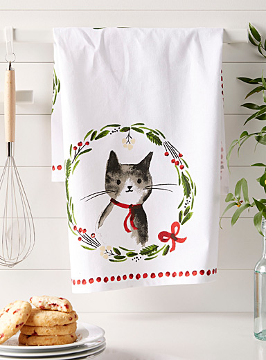 Christmas kittens tea towel