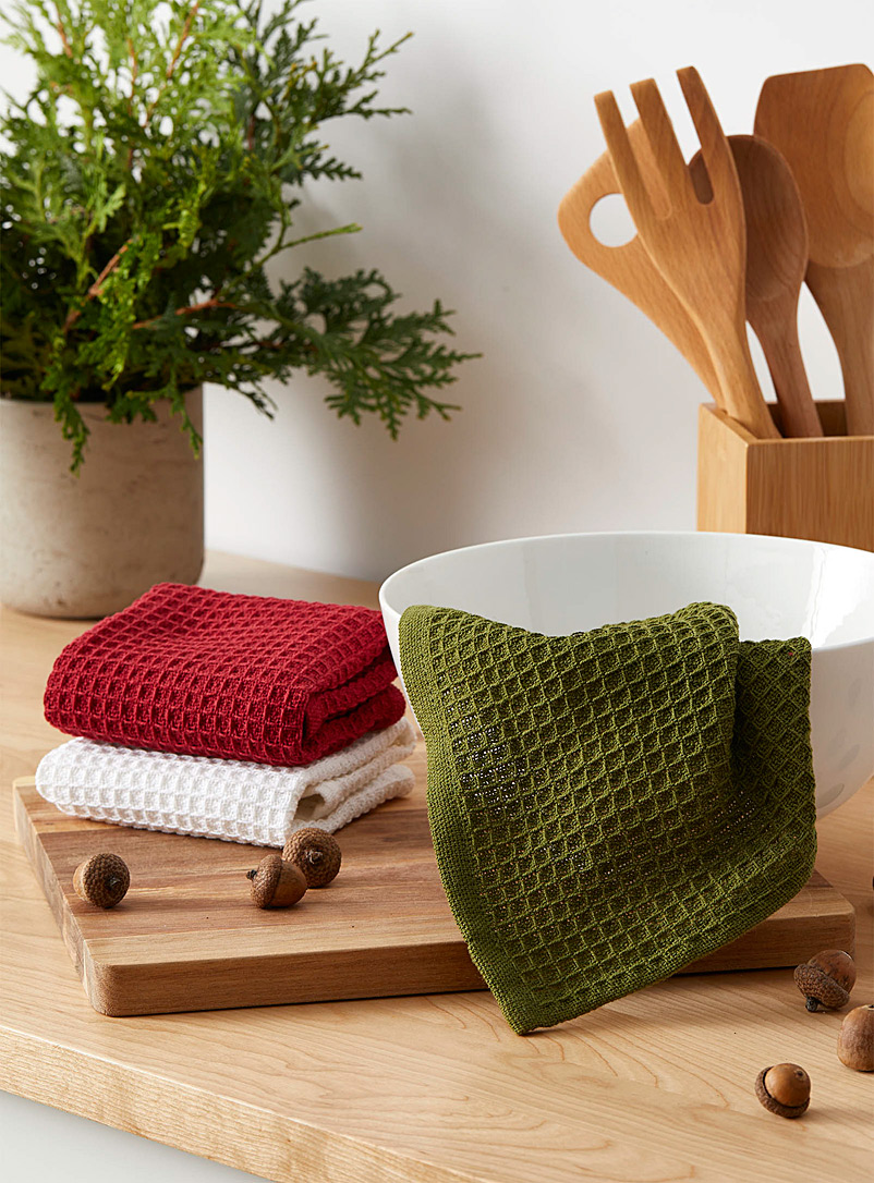 Holiday waffled dishcloths  Set of 3