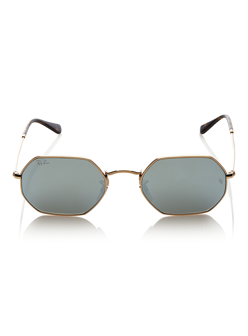 Ray-Ban Golden Yellow Octogonal sunglasses for men