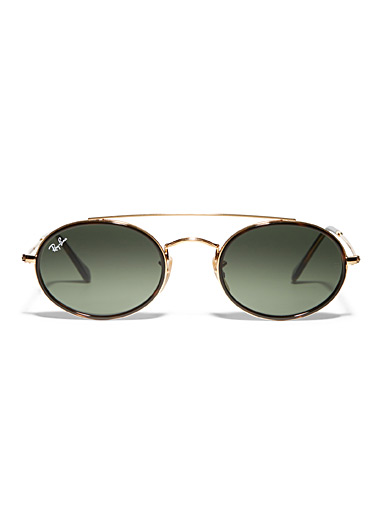 Gold double-bridge oval sunglasses