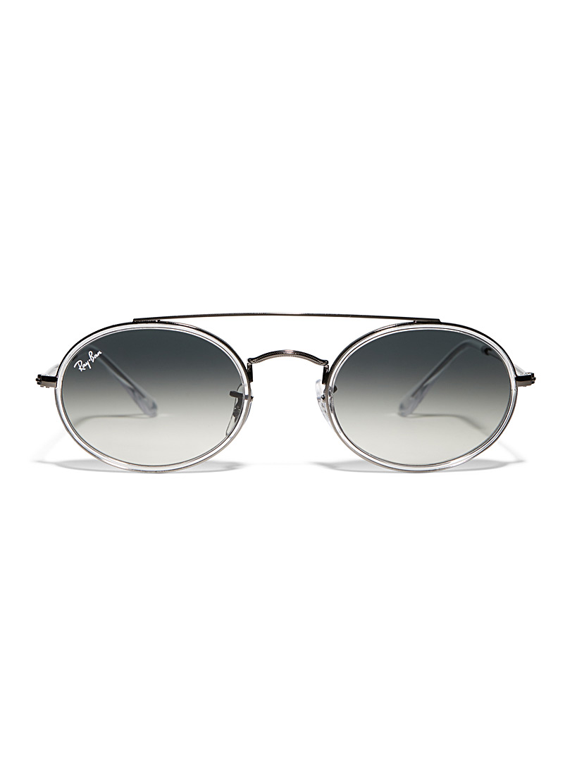 Silver double-bridge oval sunglasses - Designer - Silver