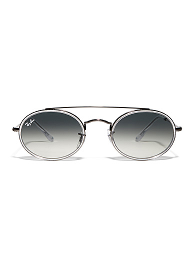Silver double-bridge oval sunglasses