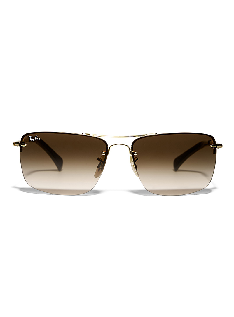 Gold accent rectangular sunglasses - Designer - Golden Yellow