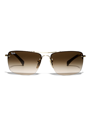 Gold accent rectangular sunglasses