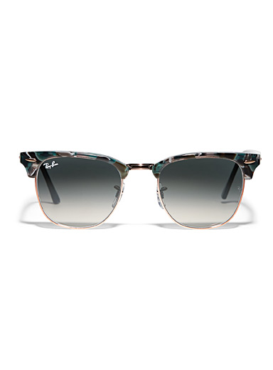 Ray-Ban Patterned Grey Clubmaster green sunglasses for men