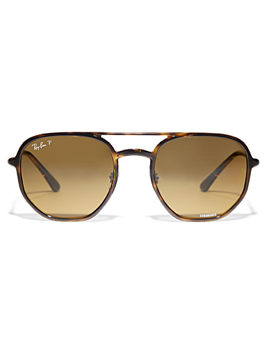 Ray-Ban Patterned Brown Chromance polarized sunglasses for men