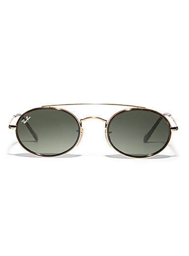 Double-bridge oval sunglasses