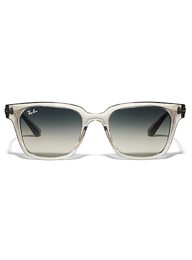 Ray-Ban Cream Beige Wayfarer-style translucent square sunglasses for women