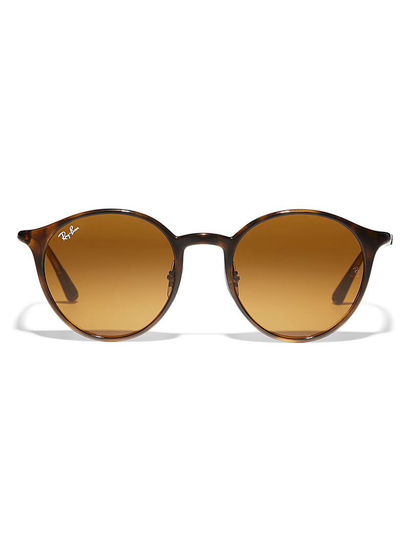 Ray-Ban Light Brown Chromance round sunglasses for women