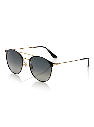 Minimalist round double-bridge sunglasses