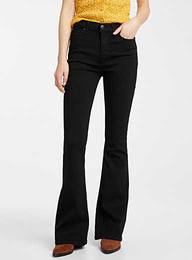 High-rise flared black jean