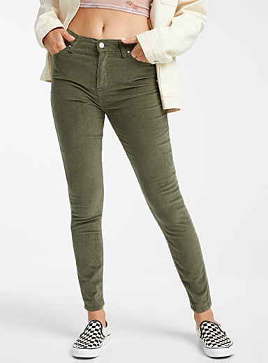 Twik Khaki Corduroy high-rise skinny jean for women
