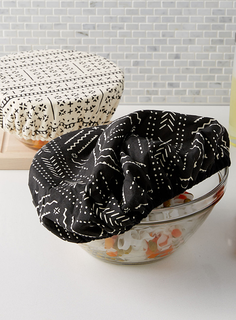 Danica Black and White Pictogram bowl covers  Set of 2