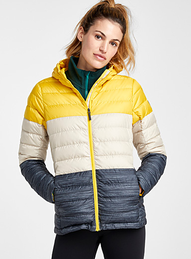 Emeline colour-block quilted jacket <br>Fitted style