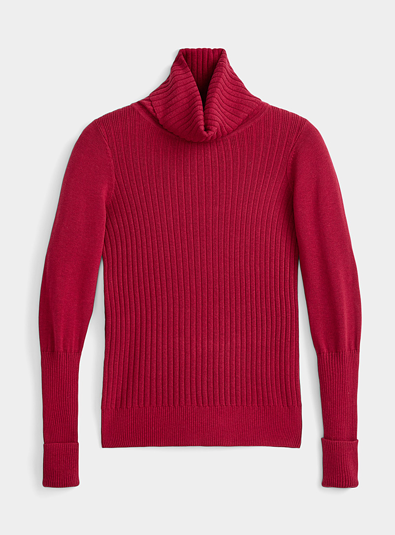 Lolë Ruby Red Mixed-rib turtleneck for women