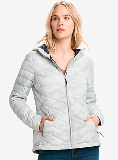 Lolë Patterned Grey Emeline camo cloud quilted jacket for women