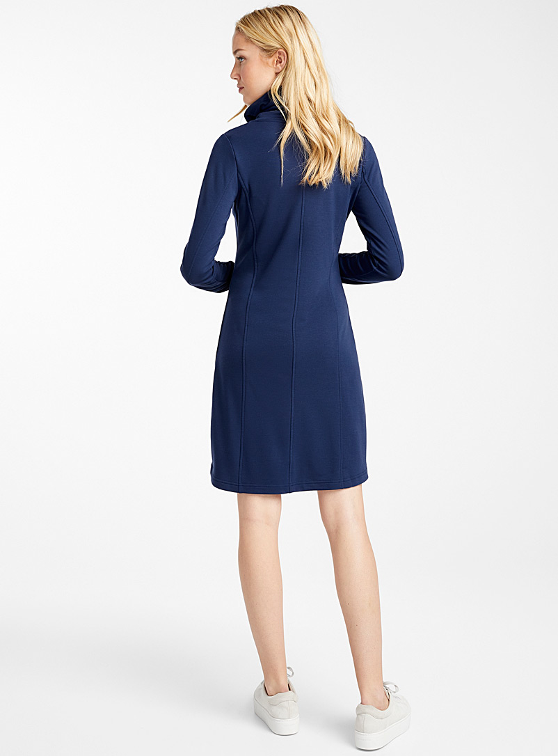 Modal jersey drawcord collar dress - Straight - Marine Blue
